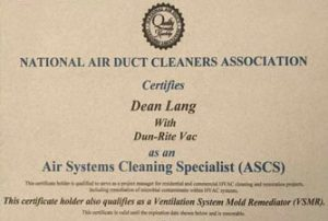 Air Systems Cleaning Specialist (ASCS)